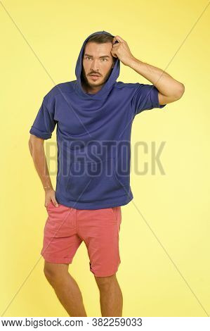 Man Athletic Appearance Wear Stylish Clothes For Youth. Comfortable Outfit For Active Leisure. Cloth