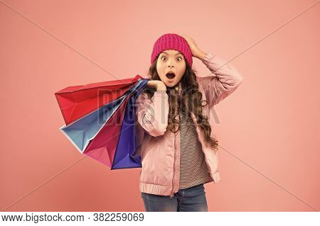 Bags Perfect For Carrying All Epic Shopping. Shocked Shopper Hold Shopping Bags. Little Child With P