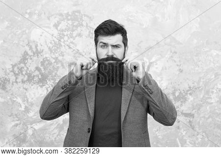 Barber Shop Concept. Brutal Man After Hairdresser Or Barber. Maintaining Masculine Look. Man With Be