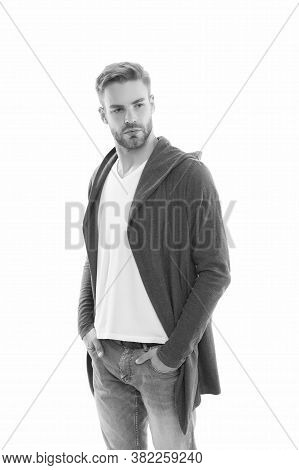 Casual And Comfortable. Male Fashion Influencer. Fashionable Model Man. Street Style Outfit. Handsom