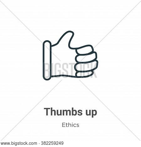 Thumbs up icon isolated on white background from ethics collection. Thumbs up icon trendy and modern