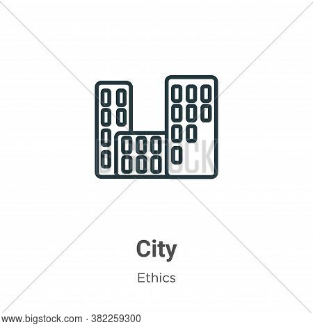 City icon isolated on white background from ethics collection. City icon trendy and modern City symb