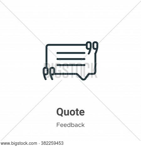 Quote icon isolated on white background from feedback collection. Quote icon trendy and modern Quote