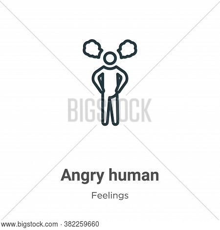 Angry human icon isolated on white background from feelings collection. Angry human icon trendy and