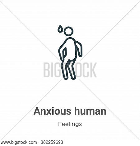 Anxious human icon isolated on white background from feelings collection. Anxious human icon trendy