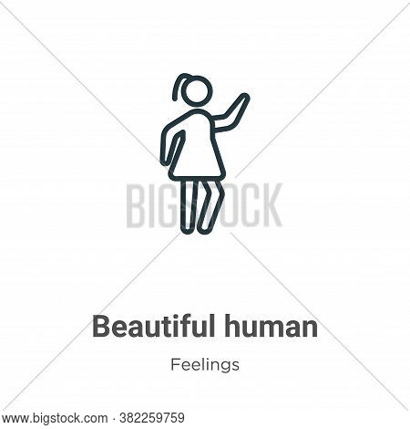 Beautiful human icon isolated on white background from feelings collection. Beautiful human icon tre