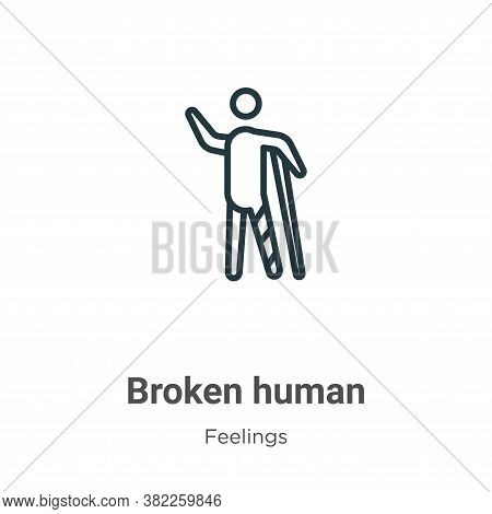 Broken human icon isolated on white background from feelings collection. Broken human icon trendy an