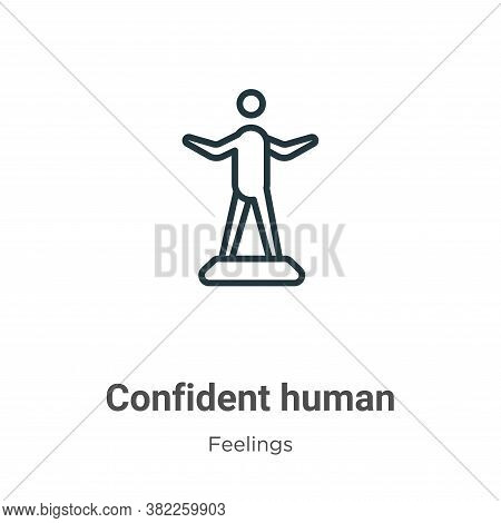 Confident human icon isolated on white background from feelings collection. Confident human icon tre