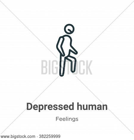 Depressed human icon isolated on white background from feelings collection. Depressed human icon tre