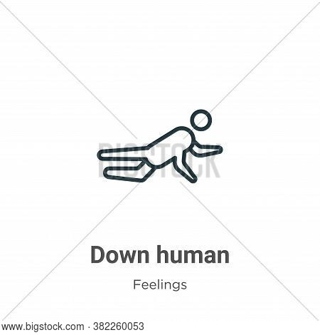 Down human icon isolated on white background from feelings collection. Down human icon trendy and mo