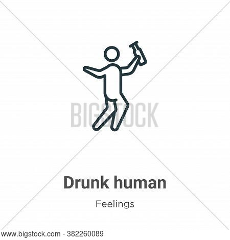 Drunk human icon isolated on white background from feelings collection. Drunk human icon trendy and