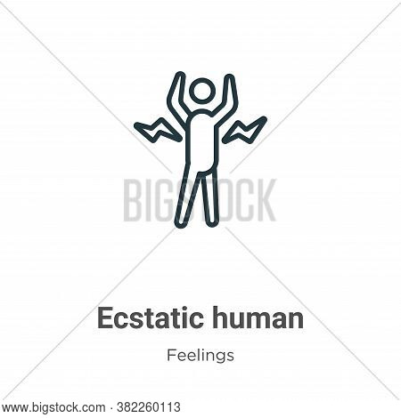 Ecstatic human icon isolated on white background from feelings collection. Ecstatic human icon trend