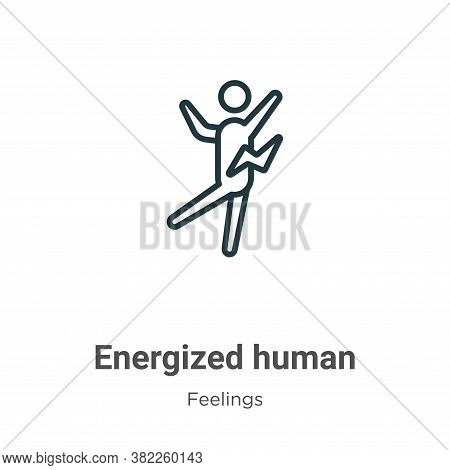 Energized human icon isolated on white background from feelings collection. Energized human icon tre