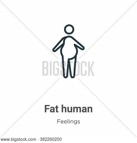 Fat human icon isolated on white background from feelings collection. Fat human icon trendy and mode