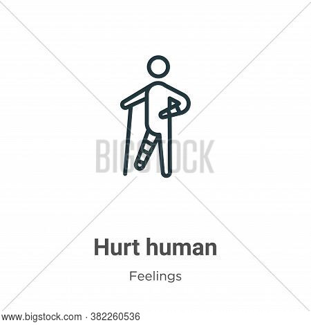 Hurt human icon isolated on white background from feelings collection. Hurt human icon trendy and mo