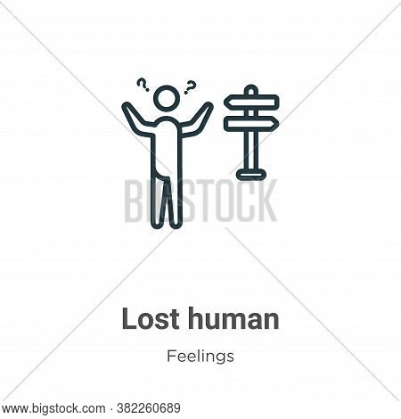 Lost human icon isolated on white background from feelings collection. Lost human icon trendy and mo
