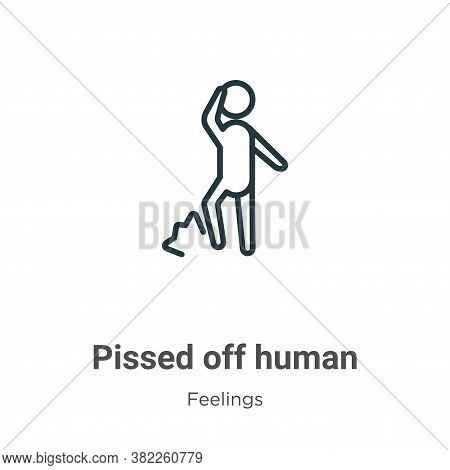 Pissed off human icon isolated on white background from feelings collection. Pissed off human icon t