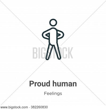 Proud human icon isolated on white background from feelings collection. Proud human icon trendy and