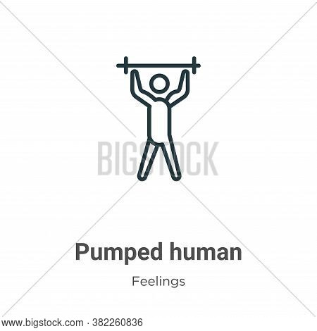 Pumped human icon isolated on white background from feelings collection. Pumped human icon trendy an