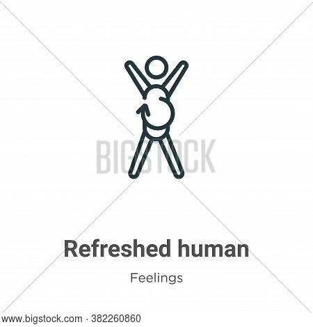 Refreshed human icon isolated on white background from feelings collection. Refreshed human icon tre