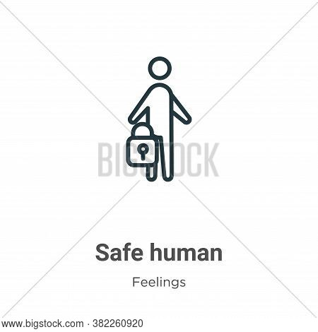 Safe human icon isolated on white background from feelings collection. Safe human icon trendy and mo