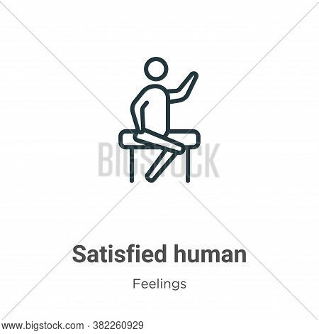 Satisfied Human Icon From Feelings Collection Isolated On White Background.