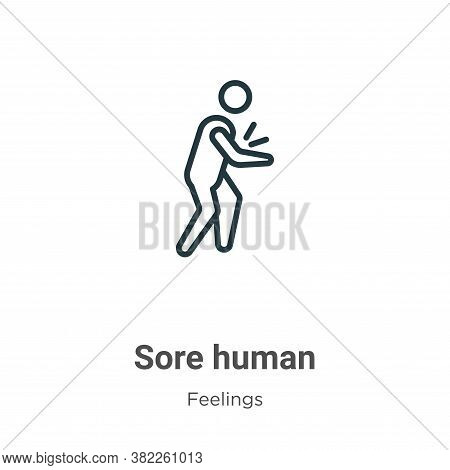 Sore human icon isolated on white background from feelings collection. Sore human icon trendy and mo