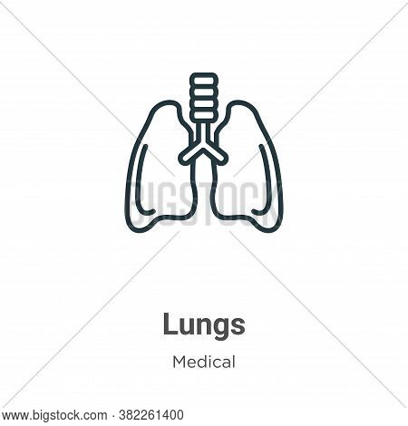 Lungs icon isolated on white background from medical collection. Lungs icon trendy and modern Lungs