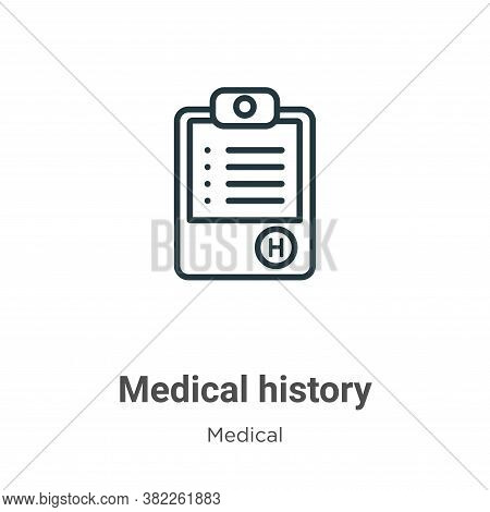 Medical history icon isolated on white background from medical collection. Medical history icon tren