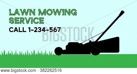 Flat Vector Illustration Of Lawn Mowing Service Flyer. Modern Lawnmower Cutting Green Grass. Banner