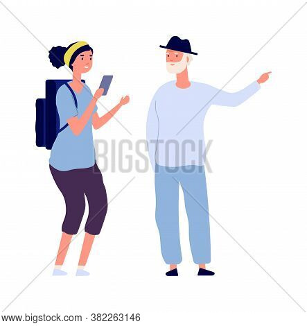 Individual Trip. Man Conduct Excursion For Single Girl. Flat Tourist With Backpack Ask Road. Isolate