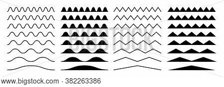 Zigzag Borders. Jagged Wavy Decorations, Serrate Wave Stripes. Isolated Black Squiggle Headers Or Di