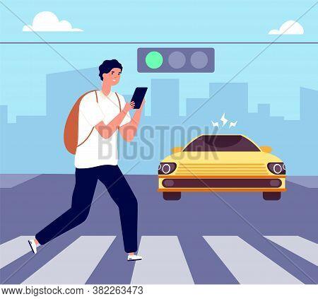 Crosswalk Accident. Pedestrian Walk Crossing Street, Traffic Danger. Man With Smartphone Violates Ro