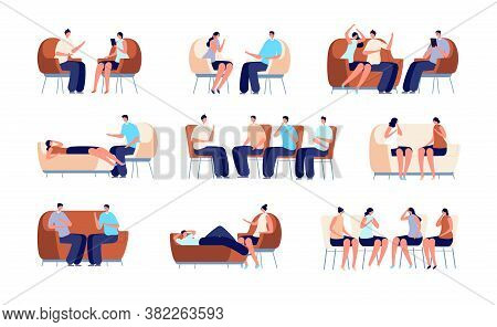 People On Psychotherapy. Group Therapy, Psychologist Talking With Couple. Family Psychology, Person