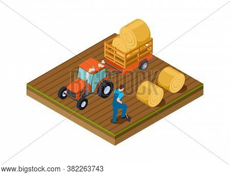 Tractor Lorry. Agricultural Work, Man Digs Ground. Isometric Plantation, Harvesting Time Vector Illu