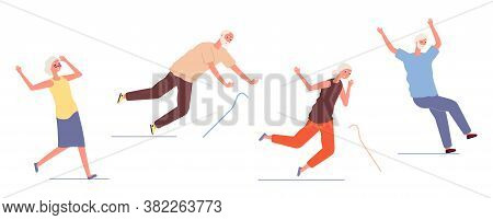Falling Elderly People. Old Woman Man Stumble And Slip. Dangerous Trauma Of Seniors, Healthcare And