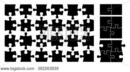 Puzzle Pieces. Isolated Black Jigsaw Element. Flat Shape Of Docked Items, Teamwork Metaphor. Blank T