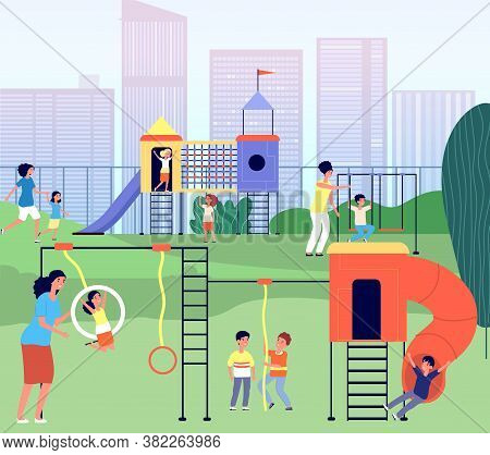 City Playground. Kindergarten Park, Summertime Baby With Mother Outdoor Activity. Toddler Mom Recrea
