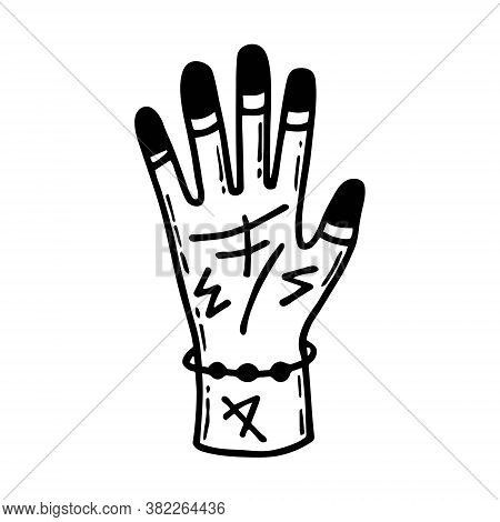Human Hand With Tattoos, Runes, Magic Symbols. Halloween Art, Design Element, Icon, Sticker. Holiday