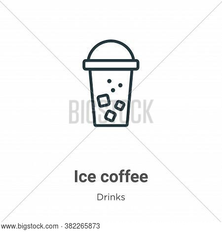 Ice coffee icon isolated on white background from drinks collection. Ice coffee icon trendy and mode