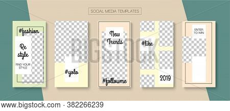 Modern Stories Vector Background. Blogger Funky Design, Social Media Kit Template. Simple Sale, New