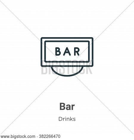 Bar icon isolated on white background from drinks collection. Bar icon trendy and modern Bar symbol