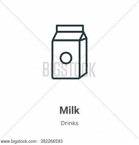 Milk icon isolated on white background from drinks collection. Milk icon trendy and modern Milk symb
