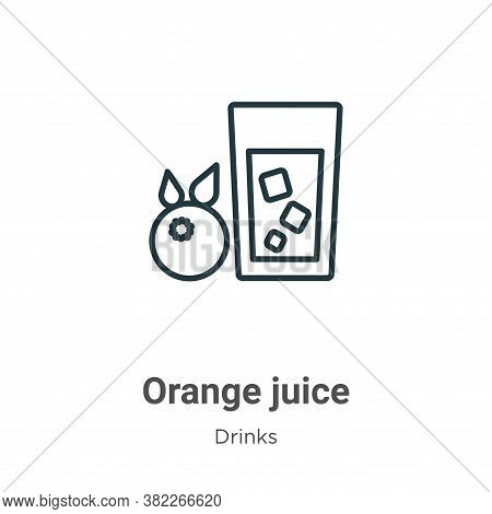 Orange juice icon isolated on white background from drinks collection. Orange juice icon trendy and