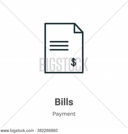 Bills icon isolated on white background from payment collection. Bills icon trendy and modern Bills
