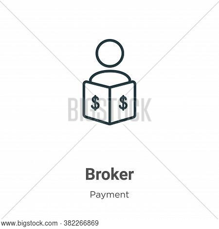 Broker icon isolated on white background from payment collection. Broker icon trendy and modern Brok