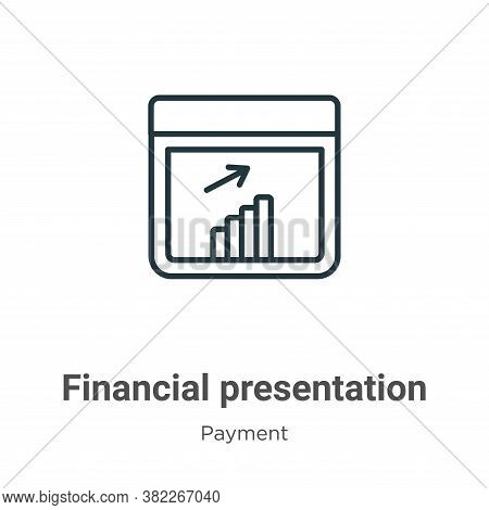 Financial presentation icon isolated on white background from payment collection. Financial presenta