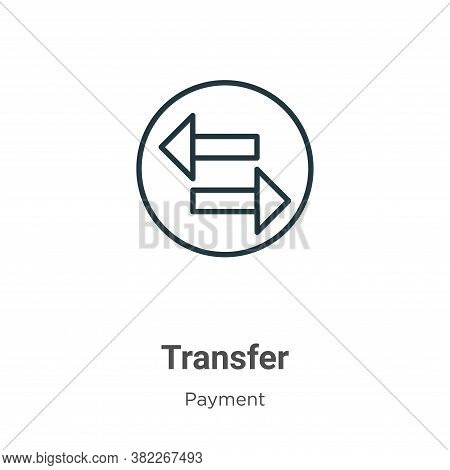 Transfer icon isolated on white background from payment collection. Transfer icon trendy and modern