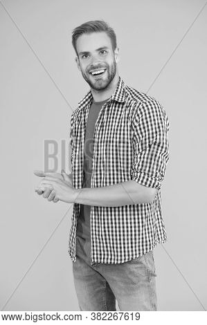 Giving Man Sense Of Style. Stylish Guy Yellow Background. Happy Man In Casual Style. Mens Fashion. S