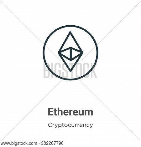 Ethereum icon isolated on white background from cryptocurrency collection. Ethereum icon trendy and